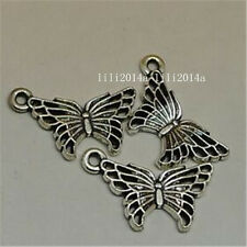100pc Tibetan Silver butterfly Charm Beads Pendant accessories Findings G565Y