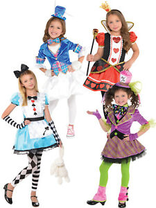 Girls Alice Mad Hatter Queen of Hearts Costume Wonderland Fancy Dress Book Week