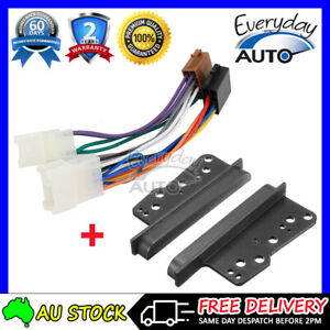 fits TOYOTA Radio ISO Wiring Harness + Double DIN Fascia Facia Side Trims Kit