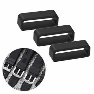 Rubber Black Watch Strap Buckle Band Keeper Hoop Loop Holder Retainer Rings
