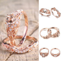 Women Rhinestone Crystal Wedding Rings Alloy Ring Rose Gold Fashion Jewelry 07AU