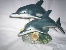 Vintage Dolphins In Motion Large Figurine Ocean Beach Shore