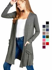 Women's Cardigan Long Sleeve Open Front Lightweight Draped Long Length w Pockets