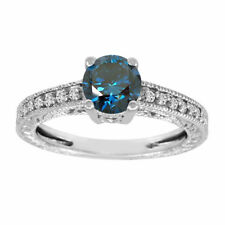 1.14 Carat Enhanced Blue Diamond Engagement Ring 14k White Gold Unique