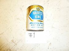 #1 VINTAGE HARVEST KING MOTOR OIL CONTAINER JAR CAN ANTIQUE CAR MEMORABILIA