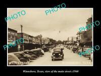 OLD LARGE HISTORIC PHOTO OF WINNSBORO TEXAS, VIEW OF THE MAIN STREET c1940