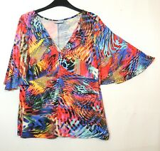 RED BLUE LADIES CASUAL TOP BLOUSE STRETCHY V-NECK WALLIS SIZE M JERSEY