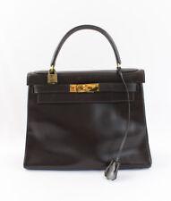 Hermes Authentic Dark Brown Kelly 28CM Box Leather Handbag