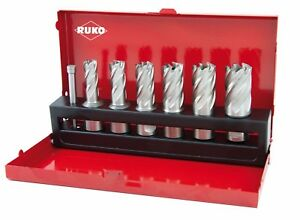 RUKO 7pcs. Core Drill Bits Set HSS, 30mm Depth, HIGH QUALITY Made in GERMANY
