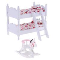 1/12 Dollhouse Miniature Furniture Children Bunk Bed Rocking Horse Bedroom