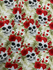 4 Metres Ivory & Red Skull & Roses Printed 100% Cotton Poplin Fabric.