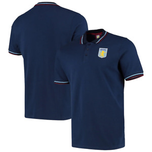 Aston Villa Polo Shirt Football Men's Fanatics Tipped Polo - Navy - New