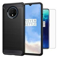 For OnePlus 7T Case Carbon Fibre Cover & Glass Screen Protector