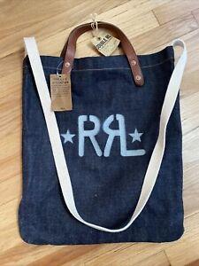 New Ralph Lauren RRL Market Tote Denim Leather Pack Bag Mens Womens Unisex