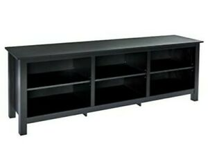 Rockpoint Argus Wood TV Stand Media Console, 70-Inch - Espresso Black