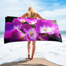 Pink African Violet Plant Saintpaulia Flower Themed Beach or Bath Towel Floral