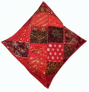 """SALE! 24"""" RED EXOTIC SARI ART DECOR BEADED BED THROW FLOOR CUSHION PILLOW COVER"""