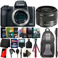 "Canon EOS M50 Mirrorless Camera with 15-45mm Lens + 62"" Monopod Accessory Kit"