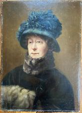 Tableau Realisme Portrait de Femme au Chapeau Peinture deb XX signée G Monjauze