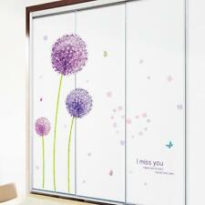 DIY Home Decor Art Vinyl Removable Wall Stickers Purple Dandelion Mural Decals