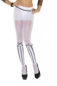 Faux Lace Up Knee High Pantyhose Front Bows Hosiery Nylons Costume 1816