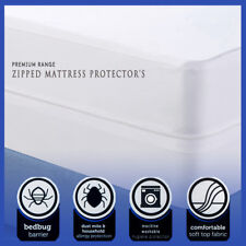 100% Cotton Poly Blend Zipped Mattress Protector Anti Allergy Bugs Mites Treated