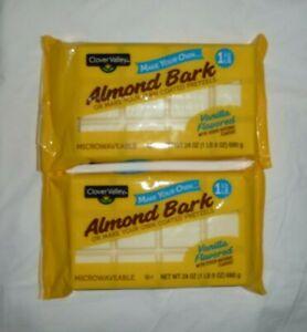 Lot 2 Clover Valley Baking Almond Bark Vanilla White Chocolate 24oz Exp 7/22