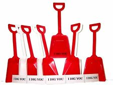 "48 Toy Beach Sand Shovels 24 ea Red & White & 48 ""I Dig You"" Stickers Mfg. Usa*"
