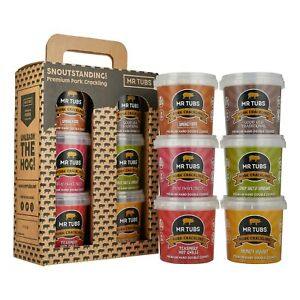Mr Tubs Premium Double Hand Cooked Pork Crackling - 6 Flavour Gift Set with Carr