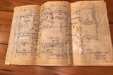 1960's House Blue Prints Plans Mid Century MCM Rendering Architects Lot Of Paper