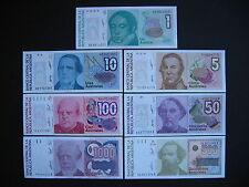 ARGENTINA  1 + 5 + 10 + 50 + 100 + 500 + 1000 Australes 1985-90 (P323-P329)  UNC