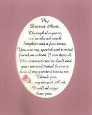 AUNT Dear Share MEMORIES Laughter TRUST Greatest TREASURE verses poems plaques