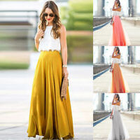 Women Summer Stretch High Waist Maxi Long Skirt Chiffon Pleated Club Dress