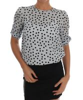 NEW $600 DOLCE & GABBANA Blouse T-shirt Blue Polka Dotted Silk Top IT50/US14/XXL