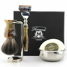 Men's Luxury Wet Shaving Gift Set - 5 Edge Razor, Badger Hair Brush Soap & Bowl