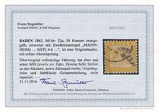 BADEN Mi. Nr. 22a / 30 Kreuzer gestempelt -  mit neuem Fotobefund Stegmüller