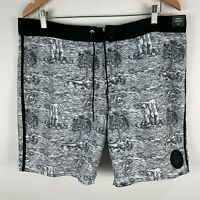 RVCA Mens Board Shorts 36 Black White Drawstring