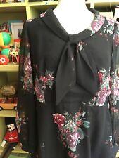 VINTAGE 60s DOES 30s PRETTY CHIFFON FLOATY GAUZY DRESS BY ROMNEY MODERN SIZE 14