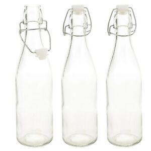 3 6 x 500ml / 1L Glass Swing Flip Top Lid Bottles Home Brew Beer Cider Reusable