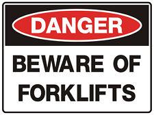 "Safety Sign ""DANGER BEWARE OF FORKLIFT 5mm corflute 300MM X 225MM"""