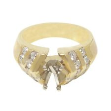 14K Yellow Gold Semi Mount Diamond Engagement Ring, 16 Stones, Dia 0.80 CT