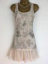 TED BAKER Dress Beaded Sleeveless ivory Beige Sleeveless Size 0 Uk 6 Chiffon