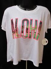 BONGO Women's T-Shirt ALOHA Scoop Neckline Backless-Medium-White-NWT