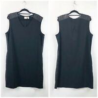 Chico's 3 XL Womens Black Pleather Sleeveless Shift Midi Dress