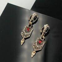 Boucles d'Oreilles Clip Pince Doré Art Deco Rouge Pendant Noir Ancien Mariage J8