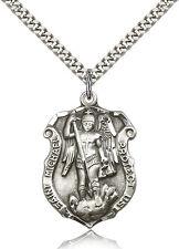 Men's Saint Michael The Archangel Medal Sterling Silver Necklace Patron Police