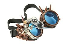 Steampunk Copper Goggles Spike Crazy Burning man Costume Mad Scientist 2X Blue