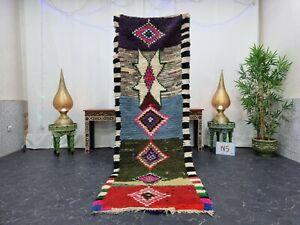 """Moroccan Handmade Vintage Runner Rug 2'8""""x8'6"""" Berber Geometric Pink Black Rug"""