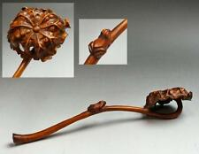 """Chinese Antique Old Wooden Ruyi Scepter """" Frog on a lotus """" / W 18.5 [ cm ]"""