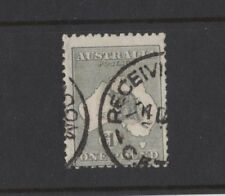 1923 Aust KGV One Pound Grey SG 75 Repaired Telegraph Punct. 3rd wmk nice filler